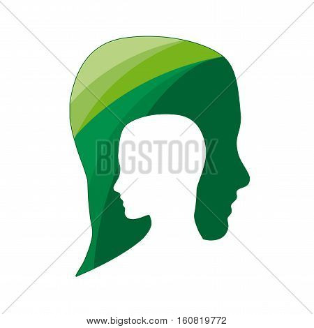 Vector sign people ecological think green, isolated illustration