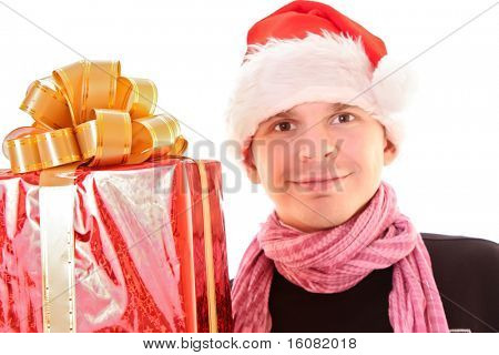 Young man in santa hat over white