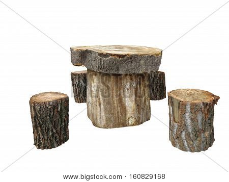 Garden Furniture Made From Wooden Log Isolated On White