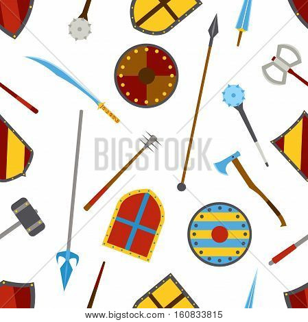 Ancient weapon and shields tool equipment pattern. Melee weapon. Cold weapon. Heraldic shields.