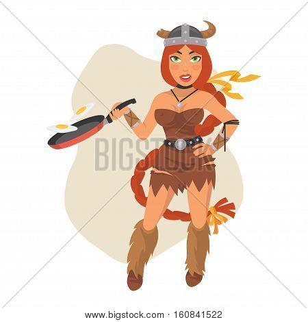 Vector Illustration, Viking Girl Holds Frying Pan, Format EPS 8
