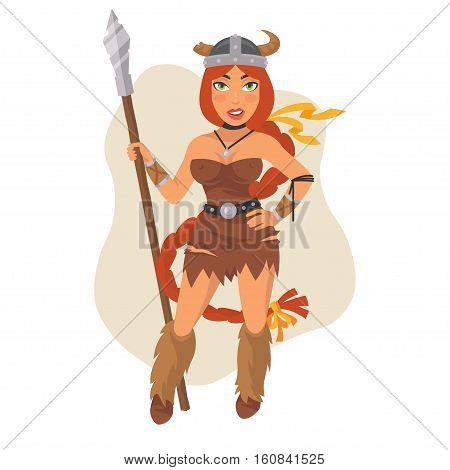 Vector Illustration, Viking Girl Holds Spear, Format EPS 8