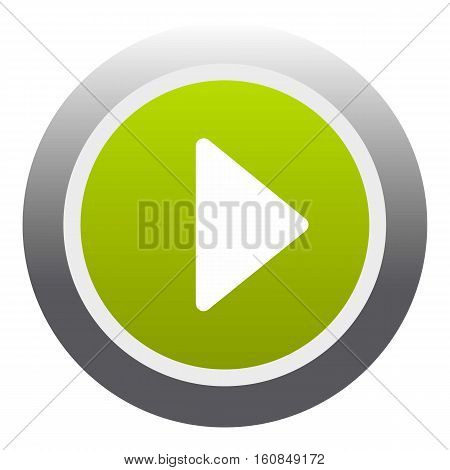 Play round button icon. Flat illustration of play round button vector icon for web