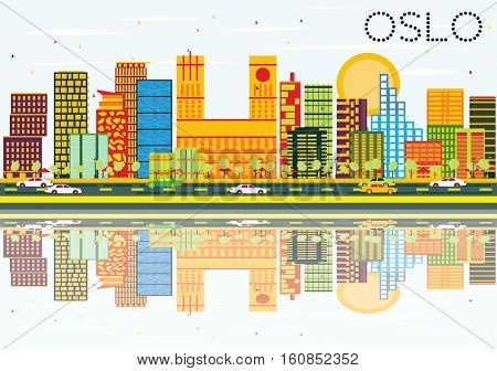 Oslo Skyline with Color Buildings, Blue Sky and Reflections. Business Travel and Tourism Concept with Modern Architecture. Image for Presentation Banner Placard and Web Site.