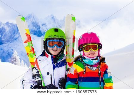 Ski And Snow Fun For Kids In Winter Mountains