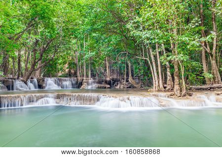 Nature landscape of waterfalls in green National Park in Thailand.