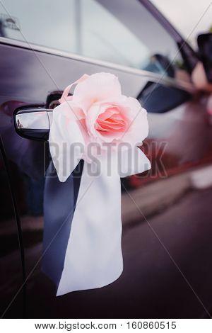 Wedding decoration on wedding car, beautiful rose