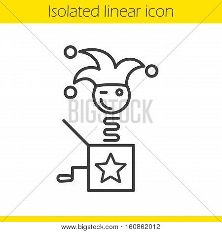 Jack in the box linear icon. Winking clown thin line illustration. Jester toy. Contour symbol. Vector isolated outline drawing