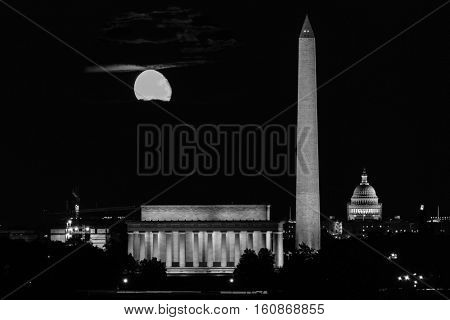 Washington DC skyline including Lincoln Memorial, Washington Monument, and The United States Capitol building in a Super Moon night - Black and White