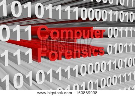 computer forensics in the form of binary code, 3D illustration