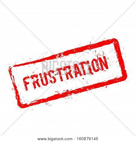 Frustration Red Rubber Stamp Isolated On White Background. Grunge Rectangular Seal With Text, Ink Te