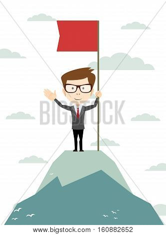 Man on the top holding flag. Stock vector illustration