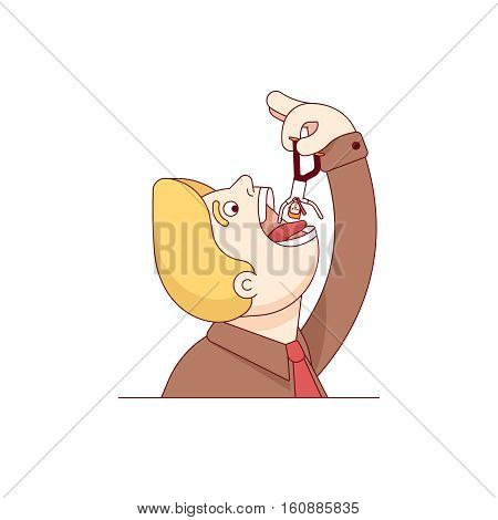 Huge business corporation devouring small businessman. Man eating man. Corporate takedown of smaller company. Modern flat style thin line vector illustration. Concept isolated on white background.