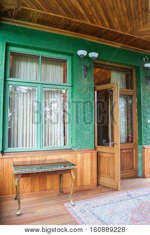 Sochi, Russia - 7 May, Entrance to Stalin's dacha., 7 May, 2016. Stalin's dacha in the sanatorium Green Grove.
