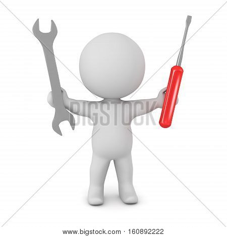 A 3D character holding a wrench and a screw driver. Isolated on white background.