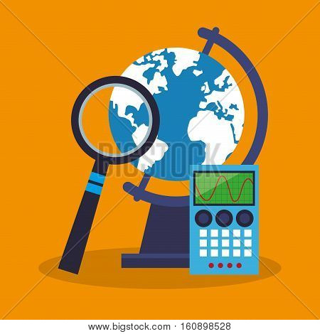 Calculator planet and lupe icon. laboratory science chemistry and research theme. Colorful design. Vector illustration