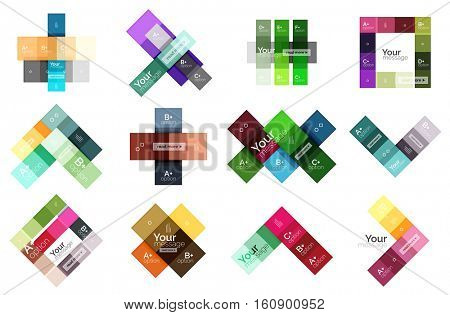 Vector color stripes infographics templates with sample option text, isolated on white. Geometric business abstract layouts for your message or figure presentation