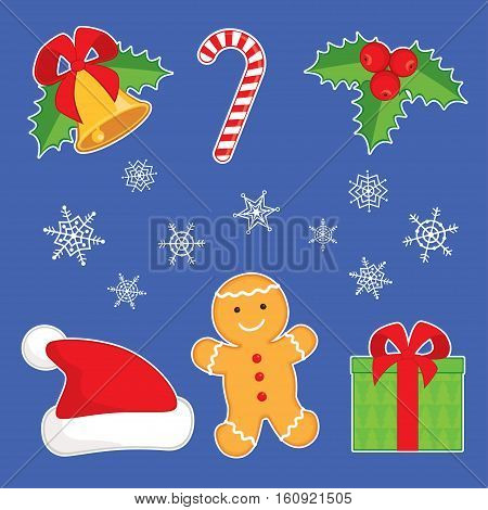 Vector illustration. Set of cartoon Christmas symbols: ginger man, jingle bell, holly berry, Santa hat, gift box, candy cane, and snowflakes. Isolated on blue background, white outline.