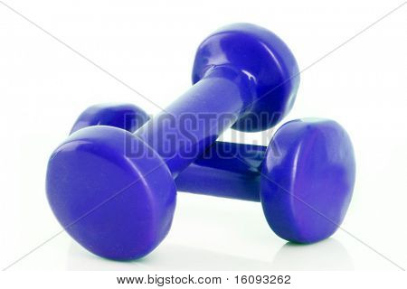 Couple of blue dumbbells isolated on white