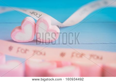 Pink Heart Shape Marshmallow For Love Theme And Valentine Background Concept. Pile Of Heart. Romance