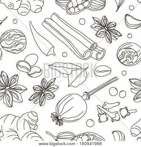 Spices, condiments and herbs decorative elements pattern