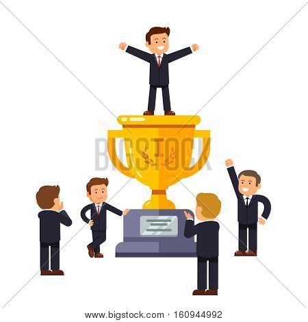 Leader standing on big winner golden cup pedestal spreading his hands in triumph gesture. Business crowd applauding supporting and praising man at the top. Modern flat style vector illustration.