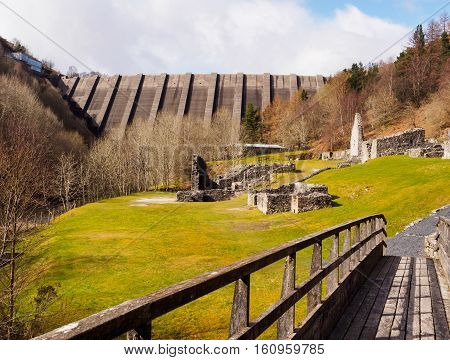 Bryntail Lead Mine is located just below the Llyn Clywedog reservoir dam three miles from Llanidloes Powys Wales. Bryntail lead mine extracted lead ore during the 19th century when the Llanidloes area was a thriving lead smelting region.