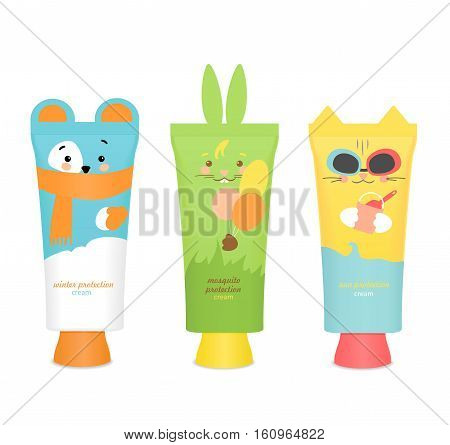Three colorful baby cosmetic tubes. Pretty kids design: Bear, cat and rabbit. Sun protection, winter protection and mosquito protection. Vector illustration