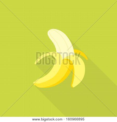 Peeling banana icon, flat design with long shadow