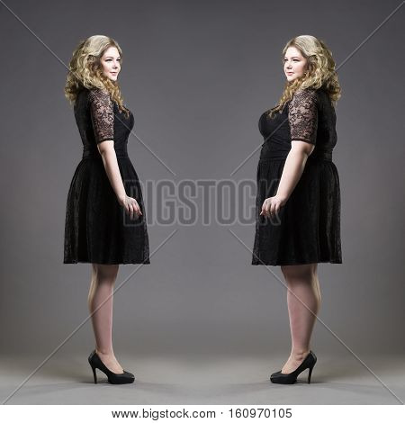 After before loss weight concept plus size and slim models in black dresses on gray studio background