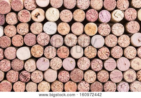 Close up of a cork wine background. Colored natural variation