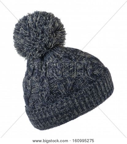 Women's Knitted Hat Isolated On White Background.hat With Pompon . Motley Hat