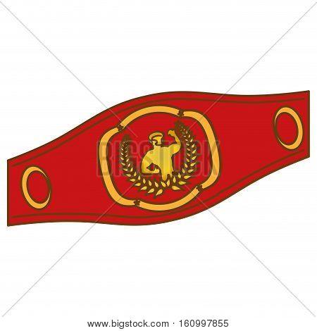 boxing trophy belt icon image vector illustration design