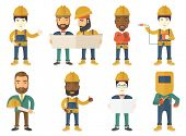 Young cheerful builder in hard hat giving thumb up. Smiling builder with thumb up. Builder in overal poster
