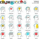 Постер, плакат: Color Box Icons Business And Personality Concept