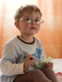 image of bifocals  - The boy writes letter Santa Claus - JPG