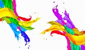 Colorful Paint Splash Isolated on White Background. Abstract Colored Splashing. Multicolor Paint Spl poster