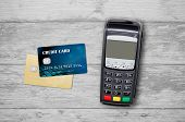 Payment Terminal Top View Composition poster