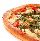 image of greased  - Tasty Italian pizza over white - JPG