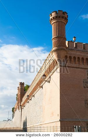 Wall and Towers of  Alcazar fortified palace in Toledo, Spain