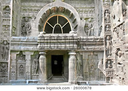 Entrance in ancient Buddhist Rock temples at Ajanta , Maharashtra, India