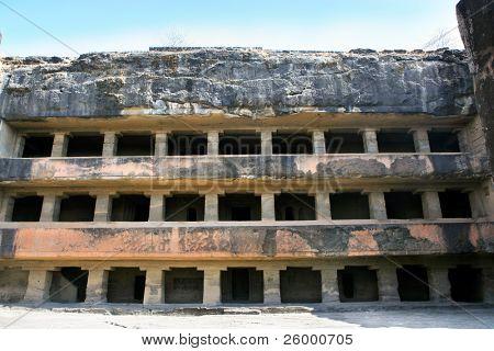 Facade of ancient Ellora rock carved Buddhist temple,  Aurangabad, Maharashtra, India