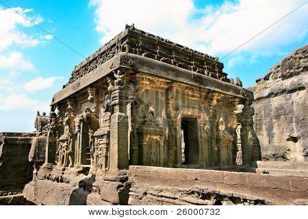 Ancient Ellora rock carved Buddhist temple, Aurangabad, Maharashtra, India