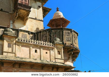 Detail of Raj Mahal in Orchha, Imposing complex of 17th century palaces in Orchha, Madhya Pradesh, India