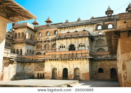 Inside the walls of Raj Mahal in Orchha, Imposing complex of 17th century palaces in Orchha, Madhya Pradesh, India
