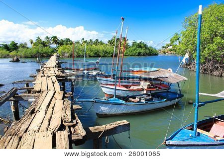 Wooden bridge leading to the little cuban village on Rio Miel, near Baracoa, Cuba