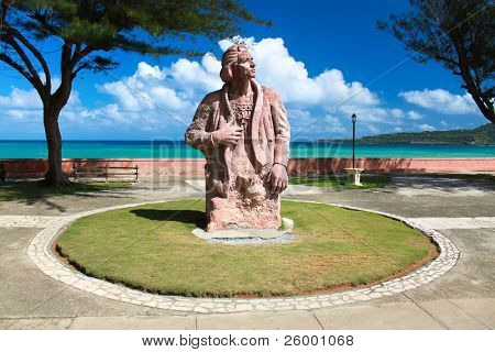 Cristoforo Colombo memorial statue on the place where he first time arrived in  Baracoa, Guantanamo province, Cuba