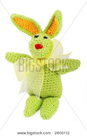 Green Easter Bunny With Gold Bow