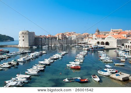 Panoramic view on Dubrovnik harbor, Croatia