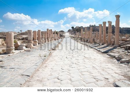 Main ancient roman road in Umm Qais (Gadara) , Jordan